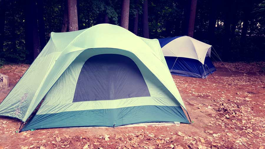 two tents in the forest