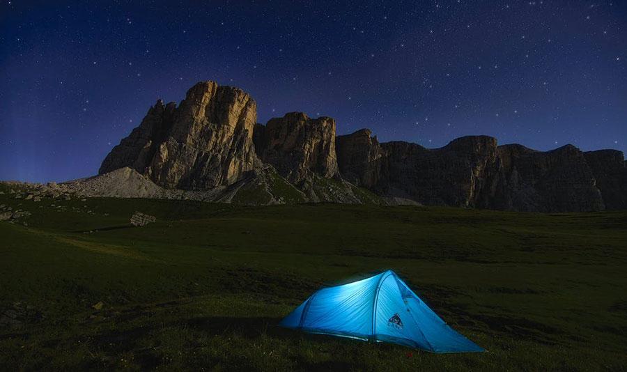 tent on flat ground